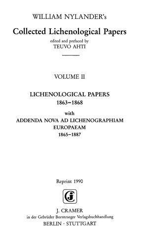 Collected Lichenological Papers von Nylander,  William