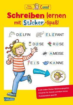 Conni Gelbe Reihe: Schreiben lernen mit Sticker-Spaß von Sörensen,  Hanna, Velte,  Ulrich