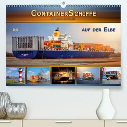 Containerschiffe auf der Elbe (Premium, hochwertiger DIN A2 Wandkalender 2020, Kunstdruck in Hochglanz) von Roder,  Peter