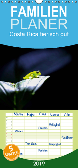 Costa Rica tierisch gut – Familienplaner hoch (Wandkalender 2019 , 21 cm x 45 cm, hoch) von Bergwitz,  Uwe