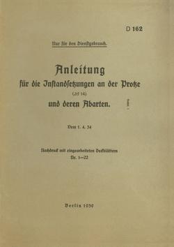 D 162 Anleitung für die Instandsetzungen an der Protze von Heise,  Thomas