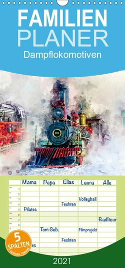 Dampflokomotiven – wunderschöne Dampfloks aus Deutschland und der Welt – Familienplaner hoch (Wandkalender 2021 , 21 cm x 45 cm, hoch) von Roder,  Peter