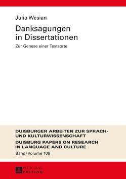 Danksagungen in Dissertationen von Wesian,  Julia