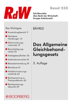 Das Allgemeine Gleichbehandlungsgesetz von Bährle,  Ralph Jürgen