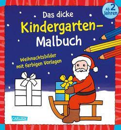 Das dicke Kindergarten-Malbuch: Weihnachtsbilder mit farbigen Vorlagen von Pöter,  Andrea