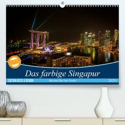 Das farbige Singapur – Marina Bay bei Nacht (Premium, hochwertiger DIN A2 Wandkalender 2020, Kunstdruck in Hochglanz) von Gundlach,  Joerg
