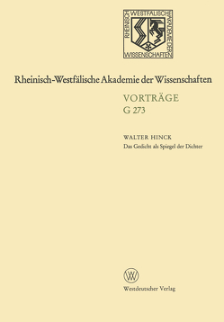 Das Gedicht als Spiegel der Dichter von Hinck,  Walter