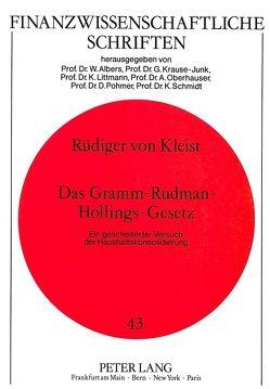 Das Gramm-Rudman-Hollings-Gesetz von von Kleist,  Rüdiger