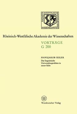 Das linguistische Universalienproblem in neuer Sicht von Seiler,  Hansjakob