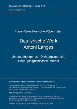 Das lyrische Werk Antoni Langes von Hoelscher-Obermaier,  Hans-Peter