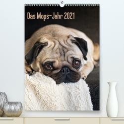 Das Mops-Jahr 2021 (Premium, hochwertiger DIN A2 Wandkalender 2021, Kunstdruck in Hochglanz) von Zoellner,  Beate