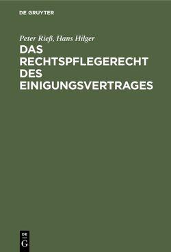 Das Rechtspflegerecht des Einigungsvertrages von Hilger,  Hans, Rieß,  Peter