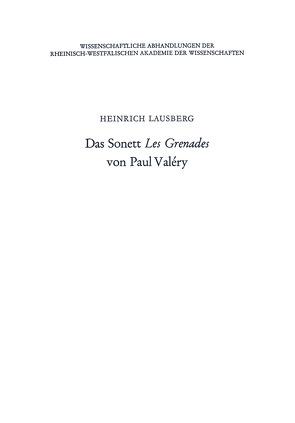 Das Sonett Les Grenades von Paul Valéry von Lausberg,  Heinrich