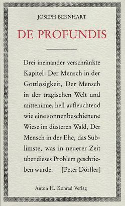 De profundis von Bernhart,  Joseph, Biser,  Eugen