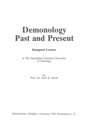 Demonology Past and Present von Koch,  Kurt E