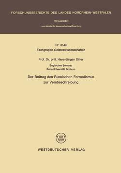 Der Beitrag des Russischen Formalismus zur Versbeschreibung von Diller,  Hans-Jürgen