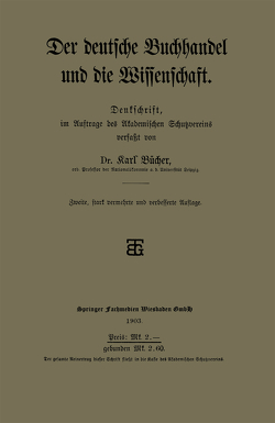 Der deutsche Buchhandel und die Wissenschaft von Bücher,  Dr. Karl