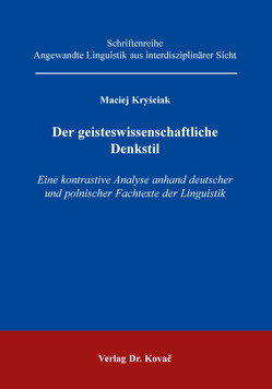 Der geisteswissenschaftliche Denkstil von Kryściak,  Maciej