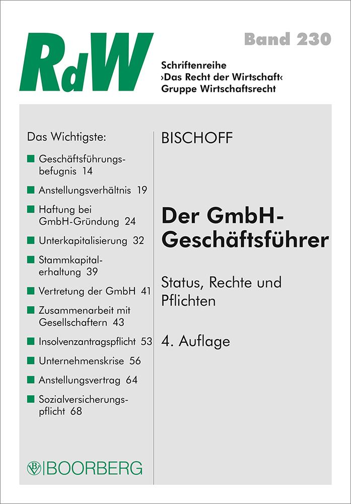 Der Gmbh Geschäftsführer Von Bischoff Thomas Status Rechte Und Pf
