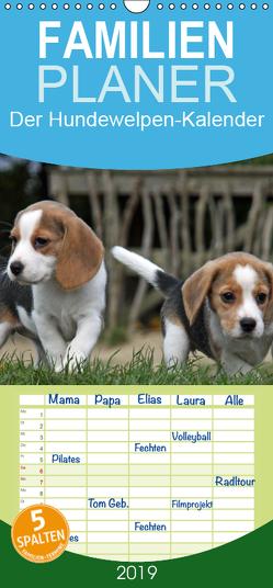 Der Hundewelpen-Geburtstagskalender – Familienplaner hoch (Wandkalender 2019 , 21 cm x 45 cm, hoch) von - Antje Lindert Rottke + Martina Berg,  Pferdografen.de