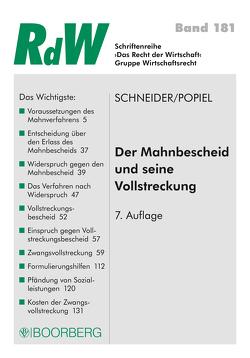 Der Mahnbescheid und seine Vollstreckung von Popiel,  Dominique Johanna, Schneider,  Roman