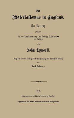 Der Materialismus in England von Lehmann,  Emil, Tyndall,  John