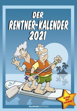 Der Rentner-Kalender 2021 – Bild-Kalender 24×34 cm – mit lustigen Cartoons – Humor-Kalender – Comic – Wandkalender – mit Platz für Notizen – Alpha Edition
