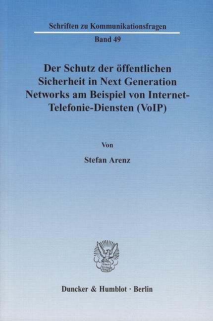 Der Schutz Der Offentlichen Sicherheit In Next Generation Networks Am