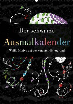Der schwarze Ausmalkalender – Weiße Motive auf schwarzem Hintergrund (Wandkalender 2019 DIN A2 hoch) von Langenkamp,  Heike