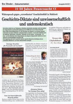 """Der Tiroler -Dokumentation: Geschichts-Diktate sind unwissenschaftlich und undemokratisch!  Widerspruch gegen  ein """"verordnetes"""" Geschichtsbild in Südtirol Gegen """"verordnetes Geschichtsbild in Südtirol"""