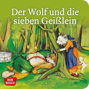 Der Wolf und die sieben Geißlein. Mini-Bilderbuch. von Grimm Brüder, Lefin,  Petra