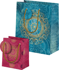 Der Zauber Indiens Geschenktüten-Set Motiv Blaues Ornament von Schöll,  Stephan