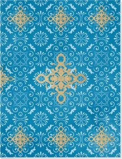 Der Zauber Indiens Großes Notizheft (A5) Motiv Blaues Ornament von Schöll,  Stephan