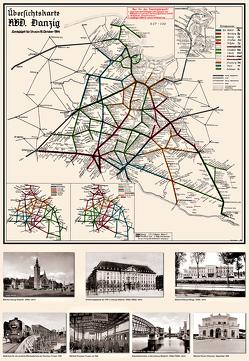 Deutsche Reichsbahn Übersichtskarte RBD Reichsbahndirektion Danzig 1944 von Heller,  M.