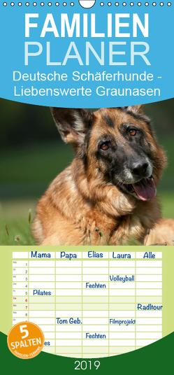 Deutsche Schäferhunde – Liebenswerte Graunasen – Familienplaner hoch (Wandkalender 2019 , 21 cm x 45 cm, hoch) von Schiller,  Petra