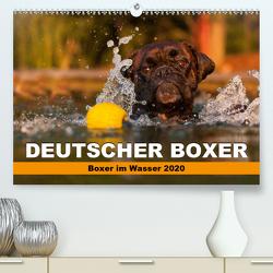 Deutscher Boxer – Boxer im Wasser 2020 (Premium, hochwertiger DIN A2 Wandkalender 2020, Kunstdruck in Hochglanz) von Mielke,  Kerstin