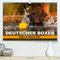 Deutscher Boxer – Boxer im Wasser 2021 (Premium, hochwertiger DIN A2 Wandkalender 2021, Kunstdruck in Hochglanz) von Mielke,  Kerstin