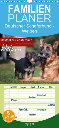 Deutscher Schäferhund – Welpen – Familienplaner hoch (Wandkalender 2019 , 21 cm x 45 cm, hoch) von Schiller,  Petra