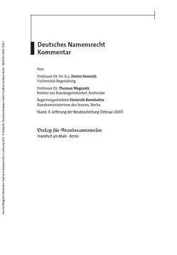Deutsches Namensrecht von Heinrich,  Bornhofen, Henrich,  Dieter, Wagenitz,  Thomas