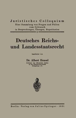 Deutsches Reichs- und Landesstaatsrecht von Hensel,  Albert