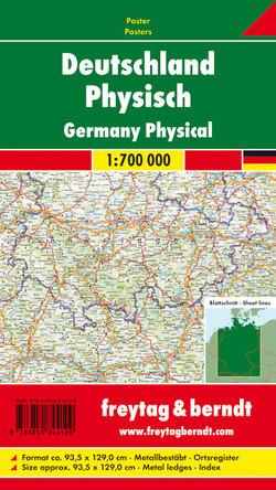 Deutschland Physisch, 1:700.000, Poster metallbestäbt