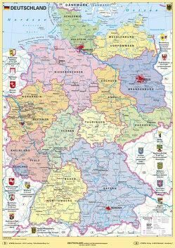 Deutschland politisch mit Bundesländerwappen von Stiefel,  Heinrich