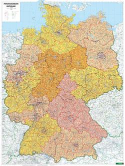 Deutschland Postleitzahlen, Poster 1:700.000, Metallbestäbt in Rolle von Freytag-Berndt und Artaria KG