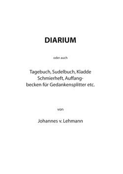 Diarium von Lehmann,  Johannes von