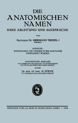 Die anatomischen Namen, ihre Ableitung und Aussprache von Stieve,  Hermann, Triepel,  Hermann