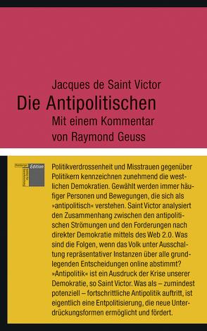 Die Antipolitischen von de Saint Victor,  Jacques