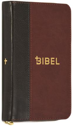 Die Bibel – Schlachter 2000 – Miniaturausgabe (PU-Einband, grau/braun, Goldschnitt, Reißverschluss)