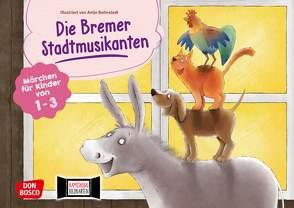 Die Bremer Stadtmusikanten. Kamishibai Bildkartenset. von Bohnstedt,  Antje, Grimm Brüder, Klement,  Simone