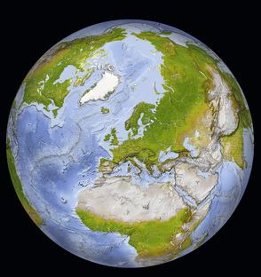 Weltkarte: Die Erde in sieben Ansichten – farbenprächtiges Hochglanz-Poster als idealer Wandschmuck von Schmeling,  Michael