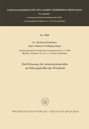 Die Erfassung der Leistungsansprüche an Führungskräfte der Wirtschaft von Brinkmann,  Gerhard